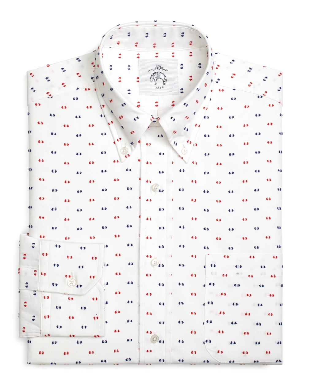 Brooks brothers red and navy textured dot button down for Red and white button down shirt