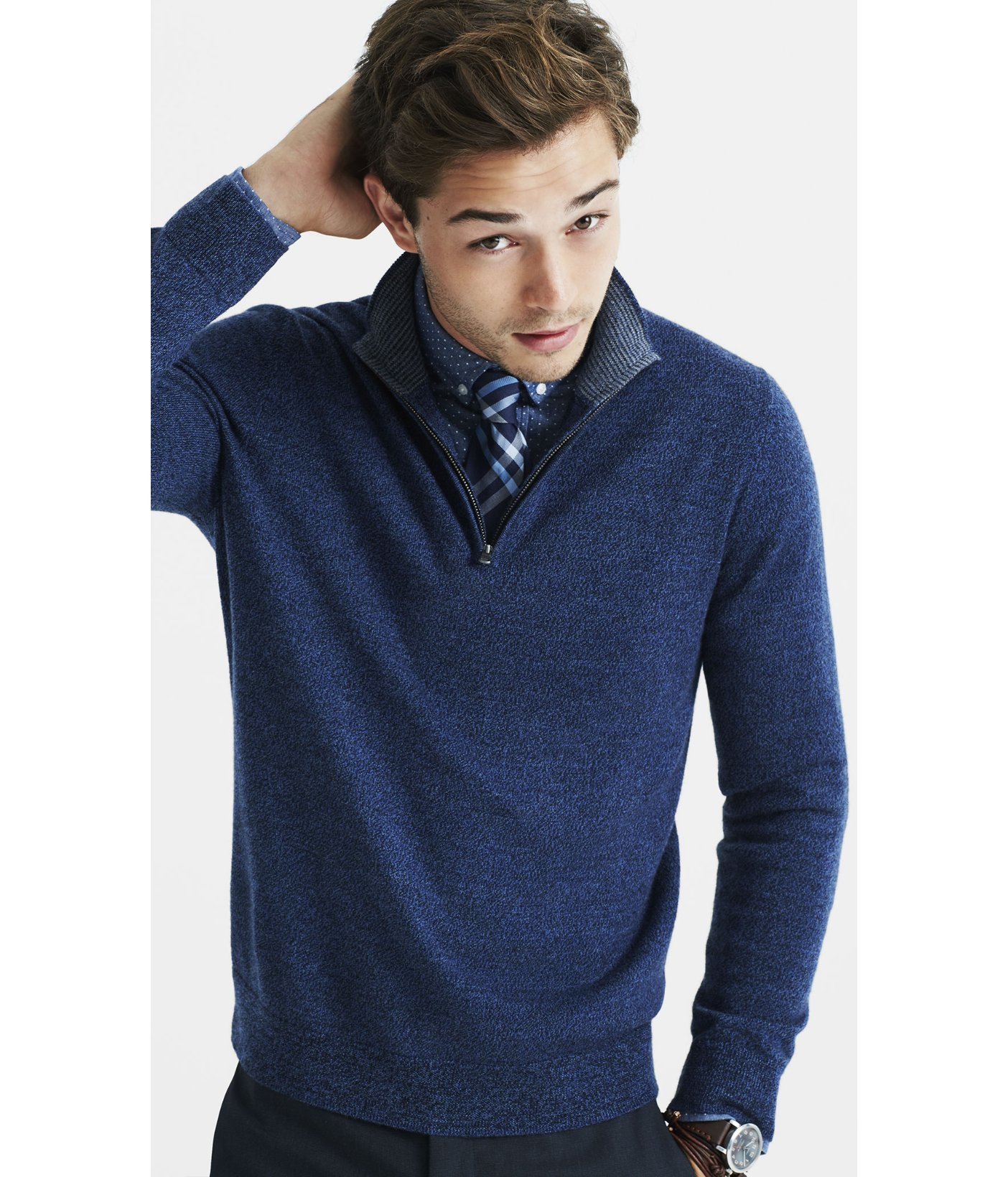 Express Merino Wool Zip-up Mock Neck Sweater in Blue for Men | Lyst