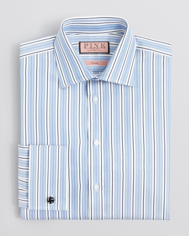 Lyst thomas pink cornelius stripe dress shirt regular for Regular fit dress shirt