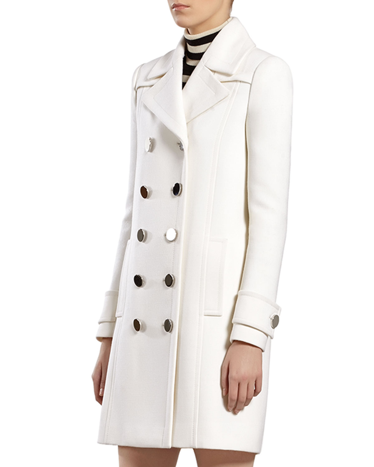 Gucci White Wool Coat in White | Lyst