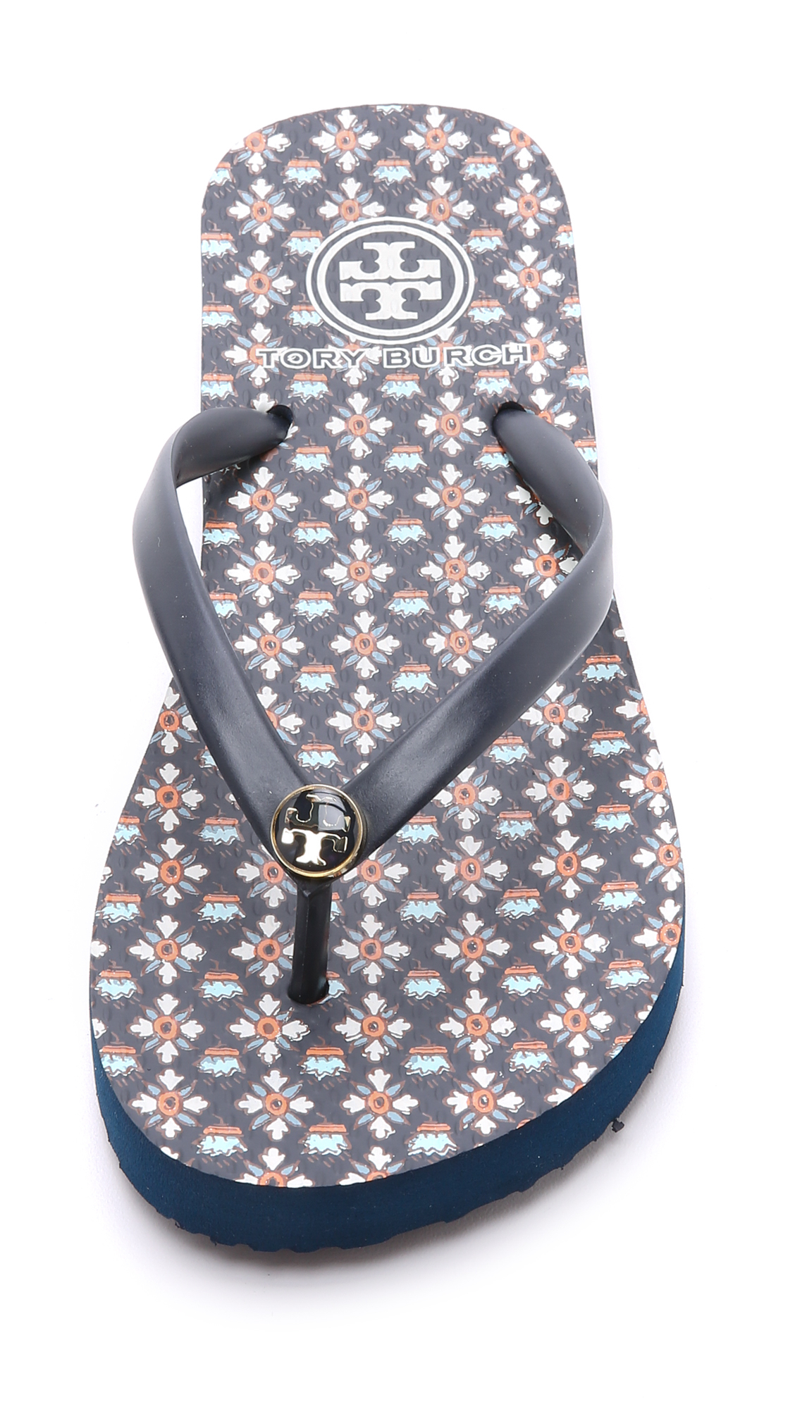 146ed9ed80a Lyst - Tory Burch Thin Flip Flops - Tory Navy Brent in Blue