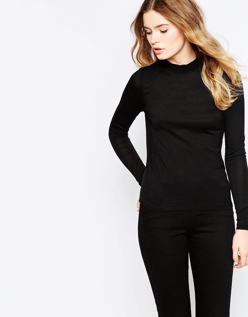 044331e86d6b66 Vero Moda High Neck Long Sleeve Top in Black - Lyst