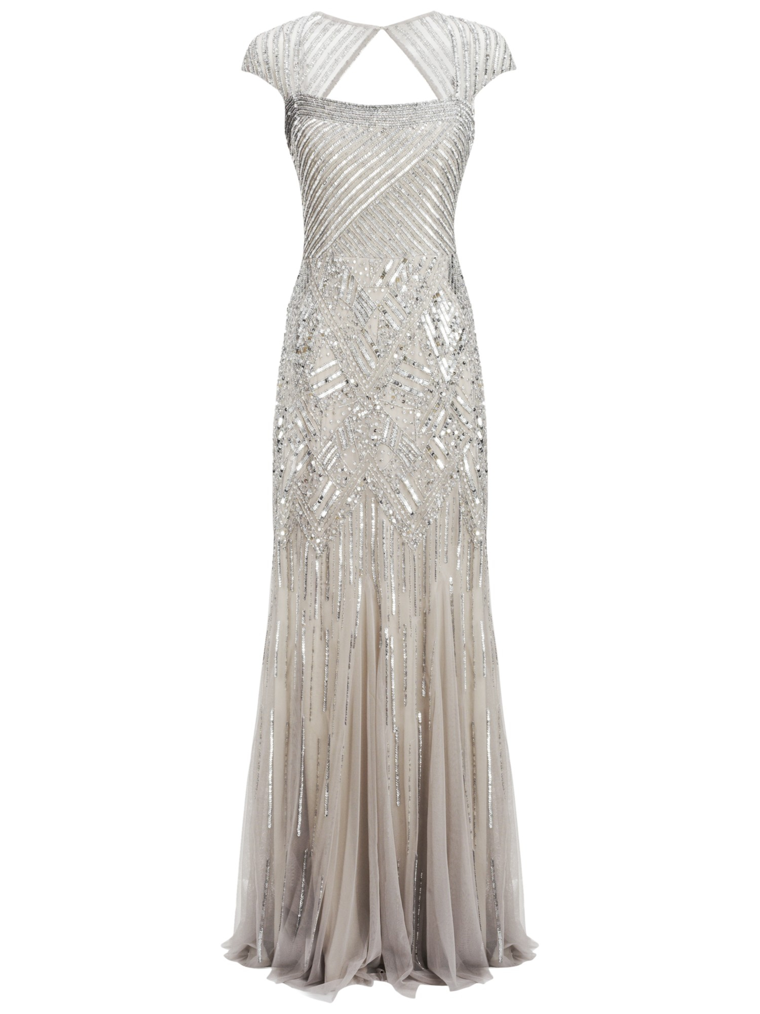 Adrianna Papell Long Beaded Dress In Platinum Metallic