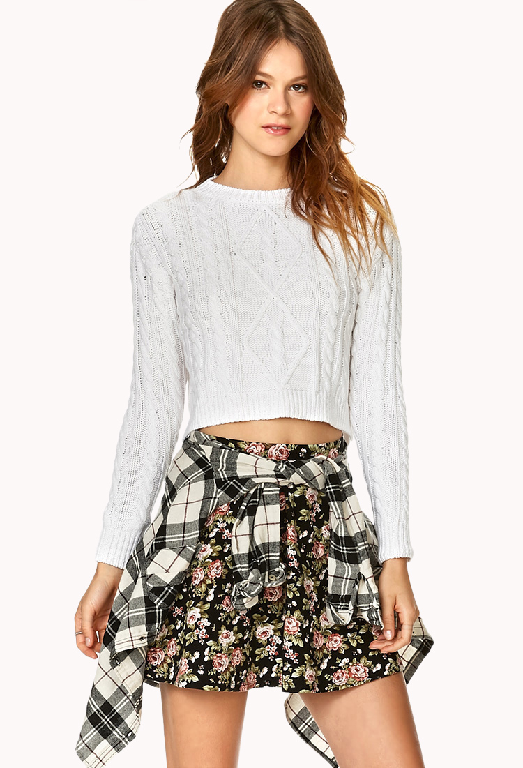 Forever 21 Cropped Cable Knit Sweater in White   Lyst