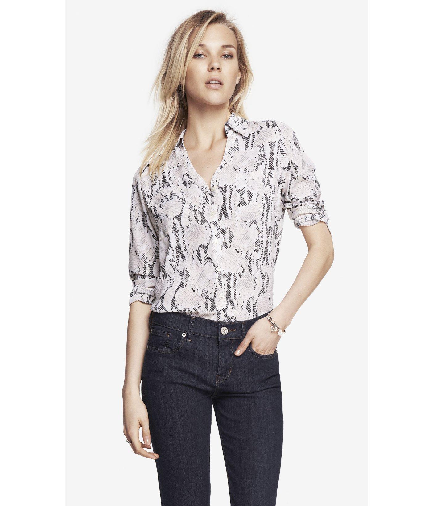 9b7e61658204 Express Snakeskin Print Convertible Sleeve Portofino Shirt - Lyst