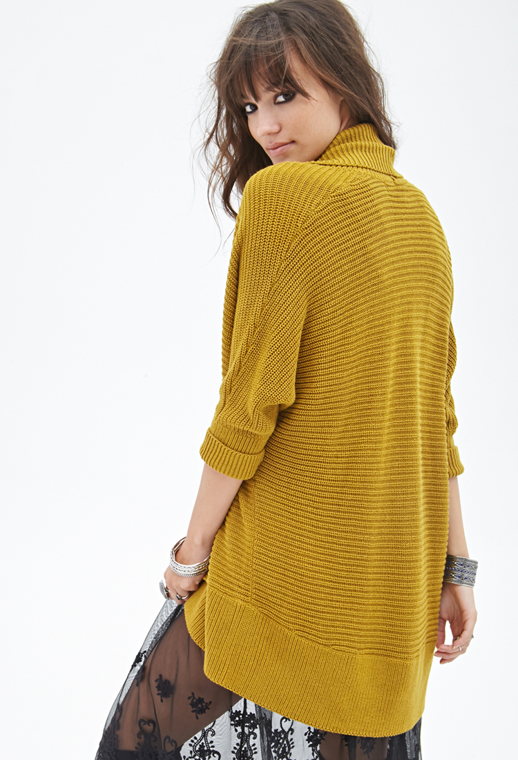 Forever 21 Open-front Dolman Cardigan in Yellow | Lyst