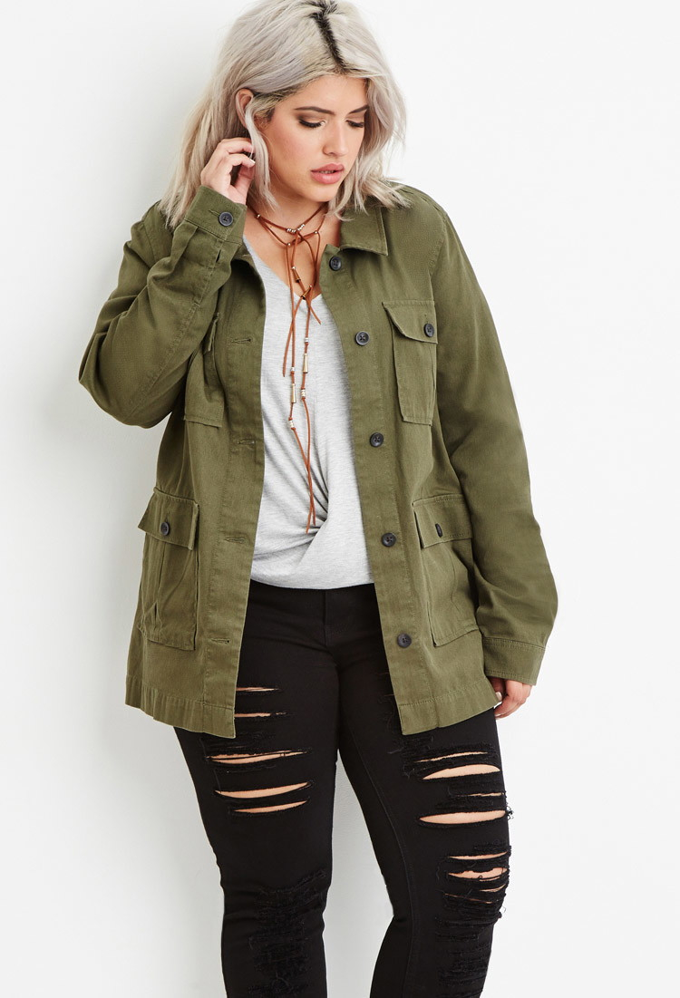 4161c2d8da2 Forever 21 Plus Size Utility Jacket in Green - Lyst