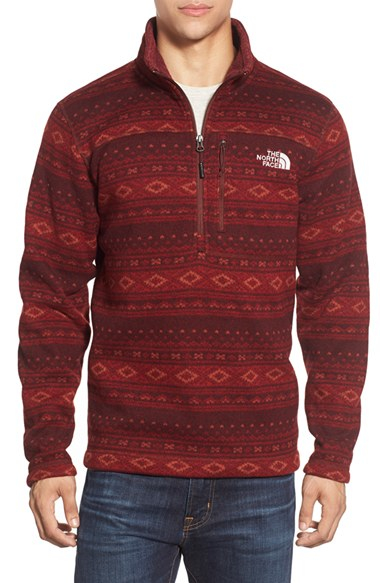 Lyst - The north face Fair Isle Quarter Zip Fleece Sweater in Red ...