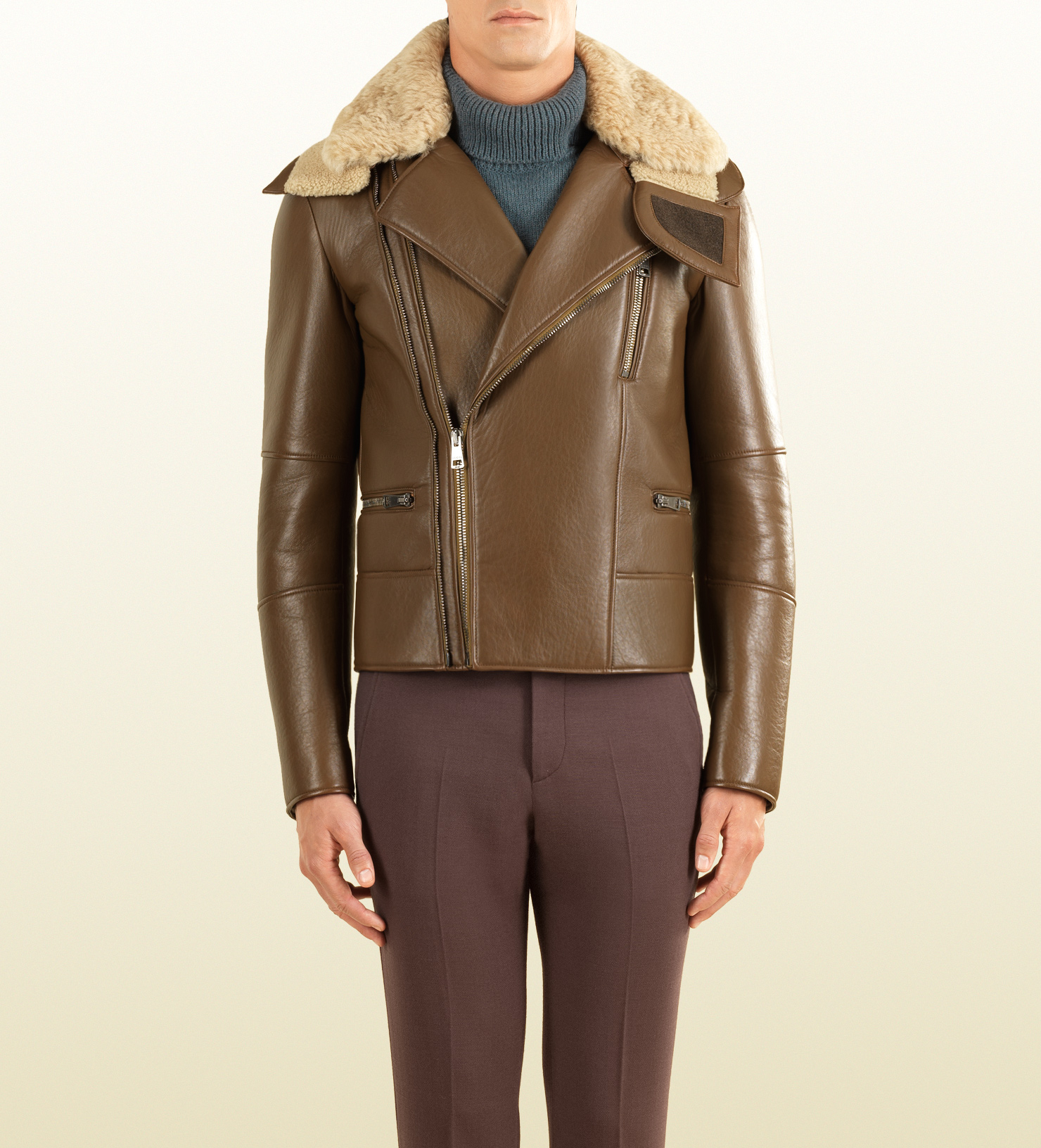 Gucci leather jacket shearling
