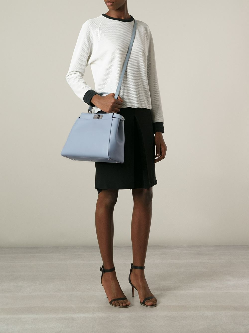 Lyst Fendi Medium Peekaboo Tote In Blue
