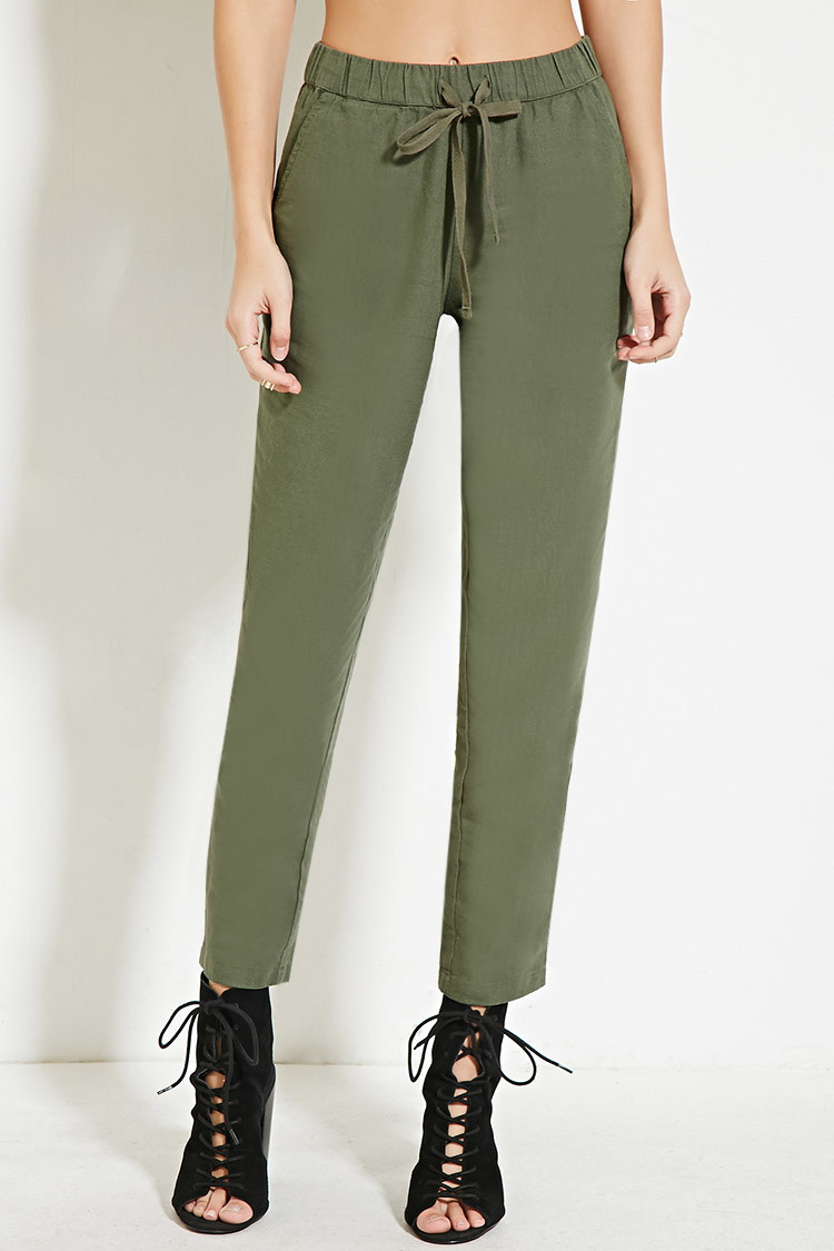 Forever 21 Linen-blend Drawstring Pants in Green | Lyst
