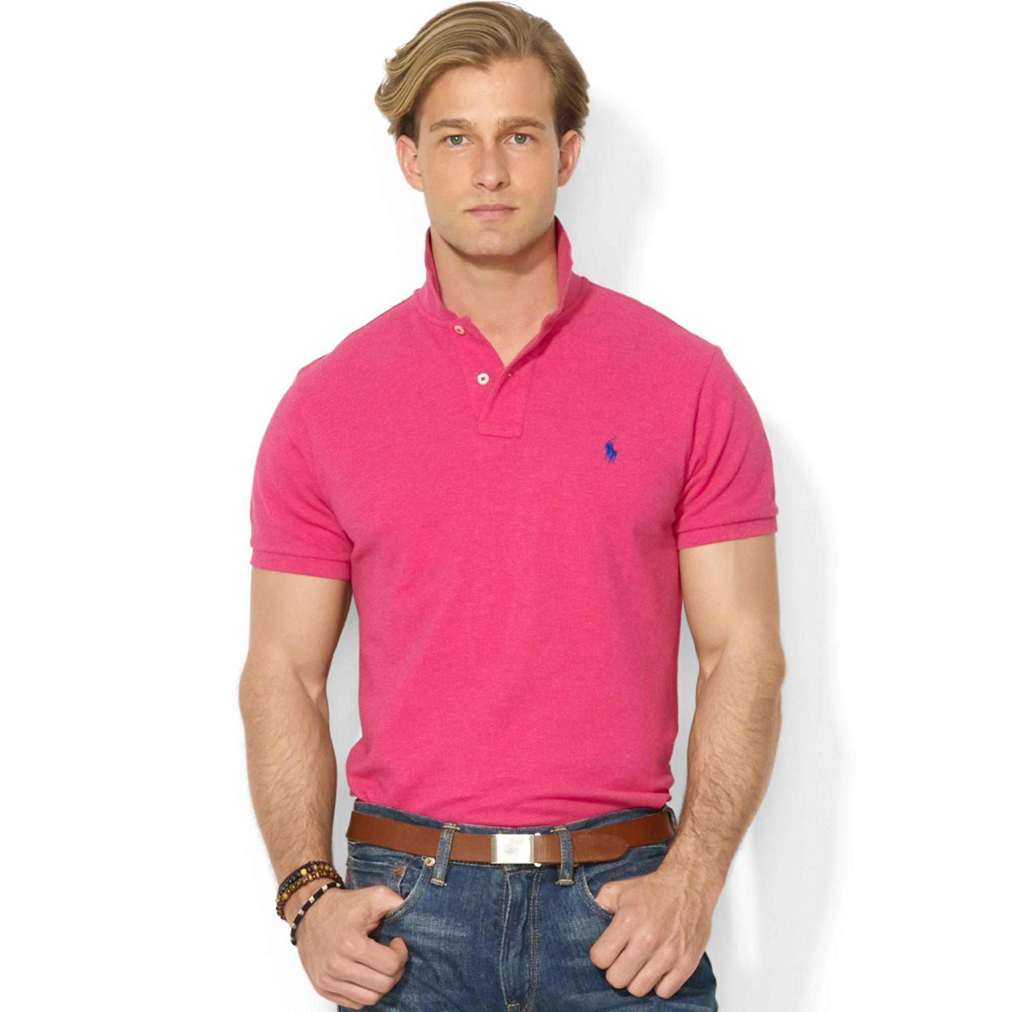 Polo ralph lauren custom fit mesh polo shirt in pink for for Polo ralph lauren custom fit polo shirt