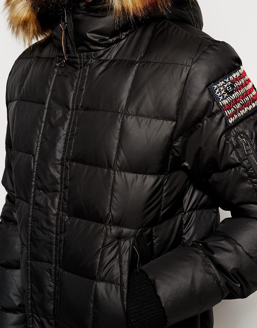 true religion black quilted jacket with faux fur hood for men lyst. Black Bedroom Furniture Sets. Home Design Ideas