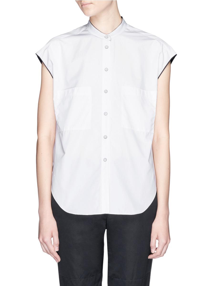 Lyst rag bone 39 manon 39 silk trim cotton poplin shirt in for Rag bone shirt