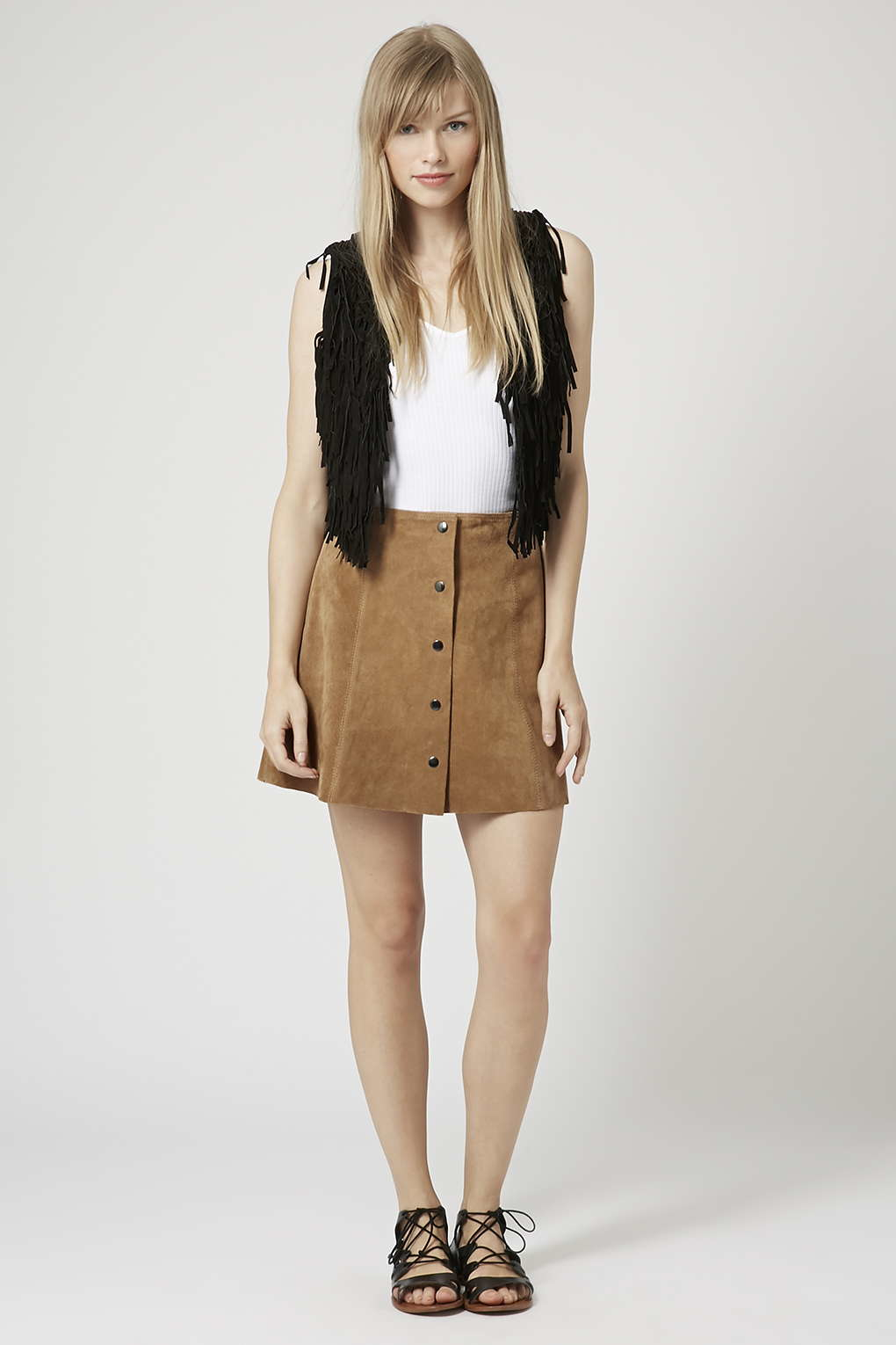 Topshop Suede Button Front A-line Skirt in Brown | Lyst