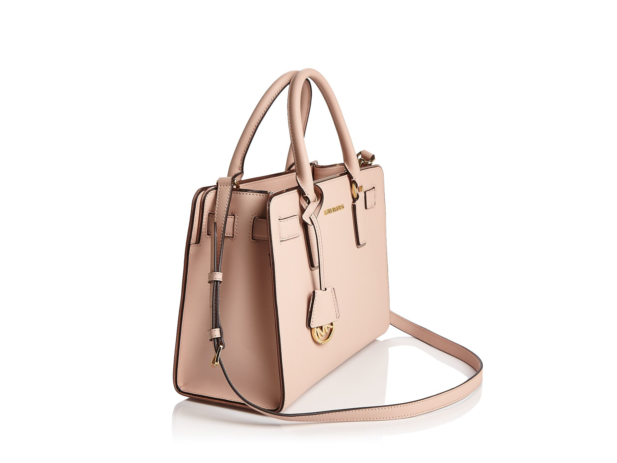 33be03169c63 MICHAEL Michael Kors Dillon Saffiano-Leather Satchel in Pink - Lyst