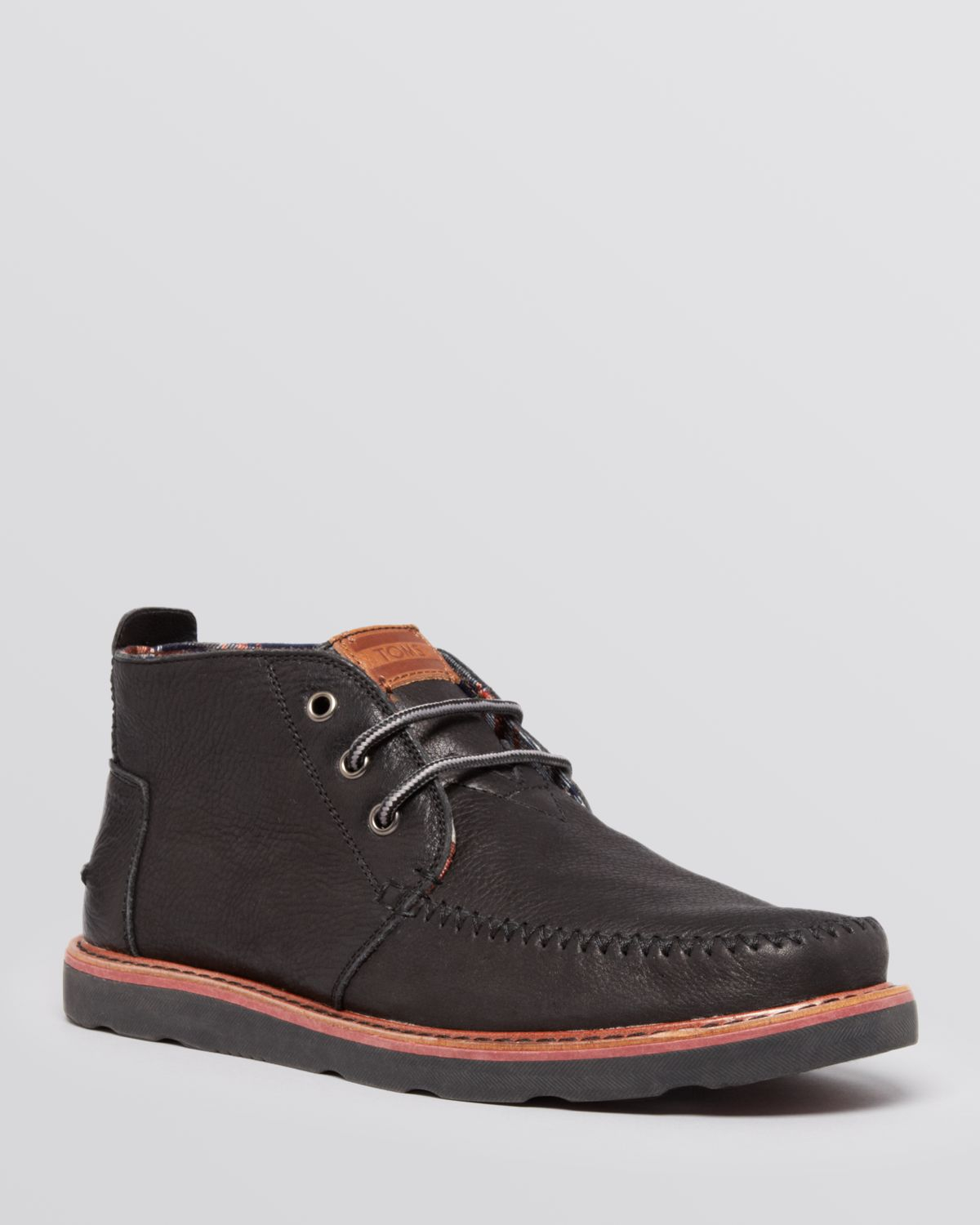 toms leather chukka boots in black for lyst
