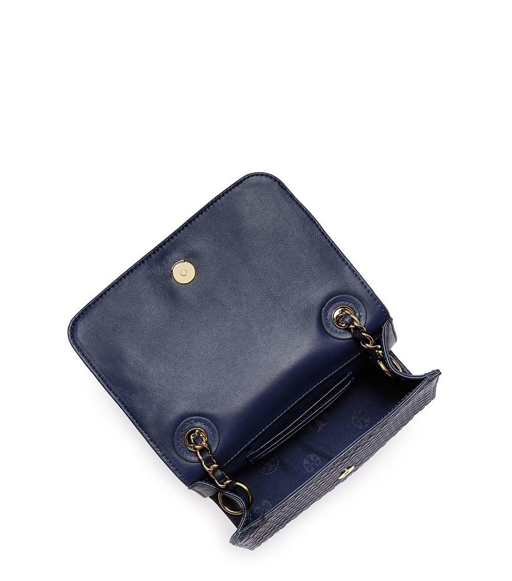 tory burch marion embossed shrunken shoulder bag in blue