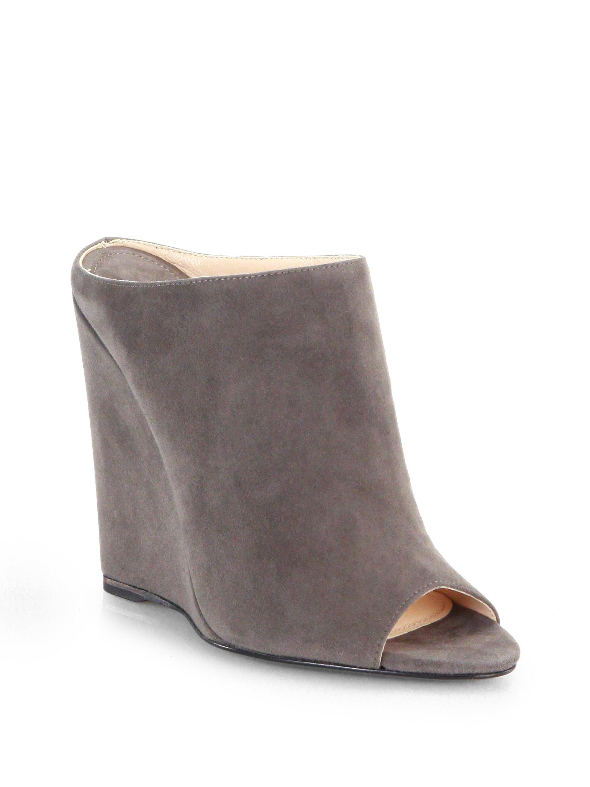 prada suede open toe wedge slides in gray grigio grey lyst