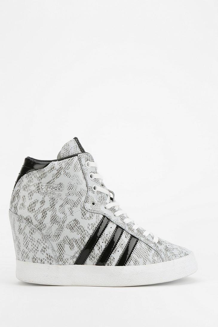 718348d5278f Lyst - adidas Basket Snakeskin Hidden Wedge Hightop Sneaker in White