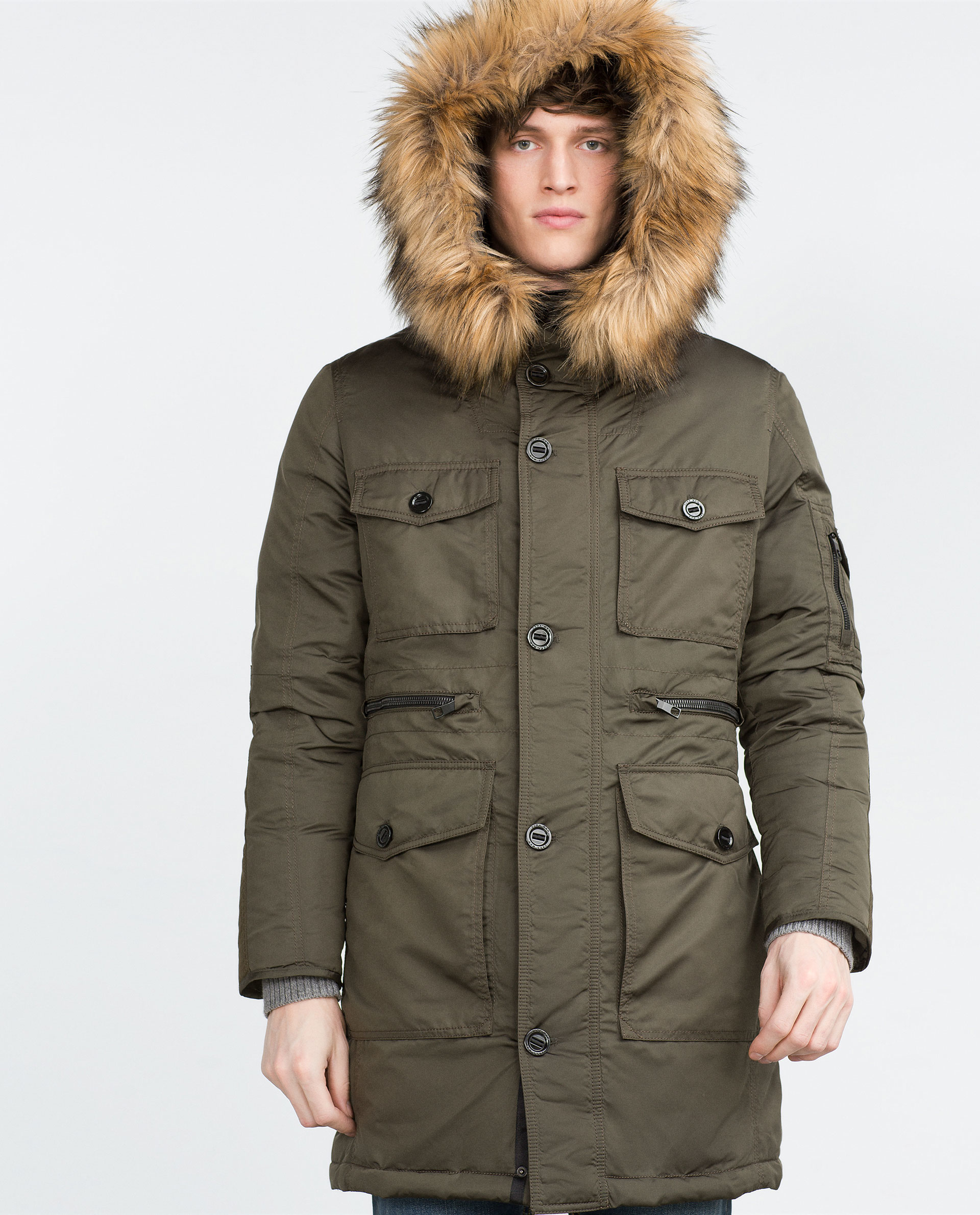 Zara Feather Parka In Green For Men Lyst