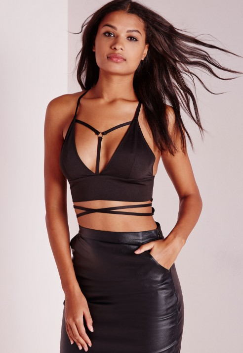 53f70c9e57190 Lyst - Missguided Wrap Around Harness Bralet Black in Black