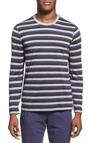 Daniel buchler striped silk and cotton blend t shirt in for Cotton silk tee shirts