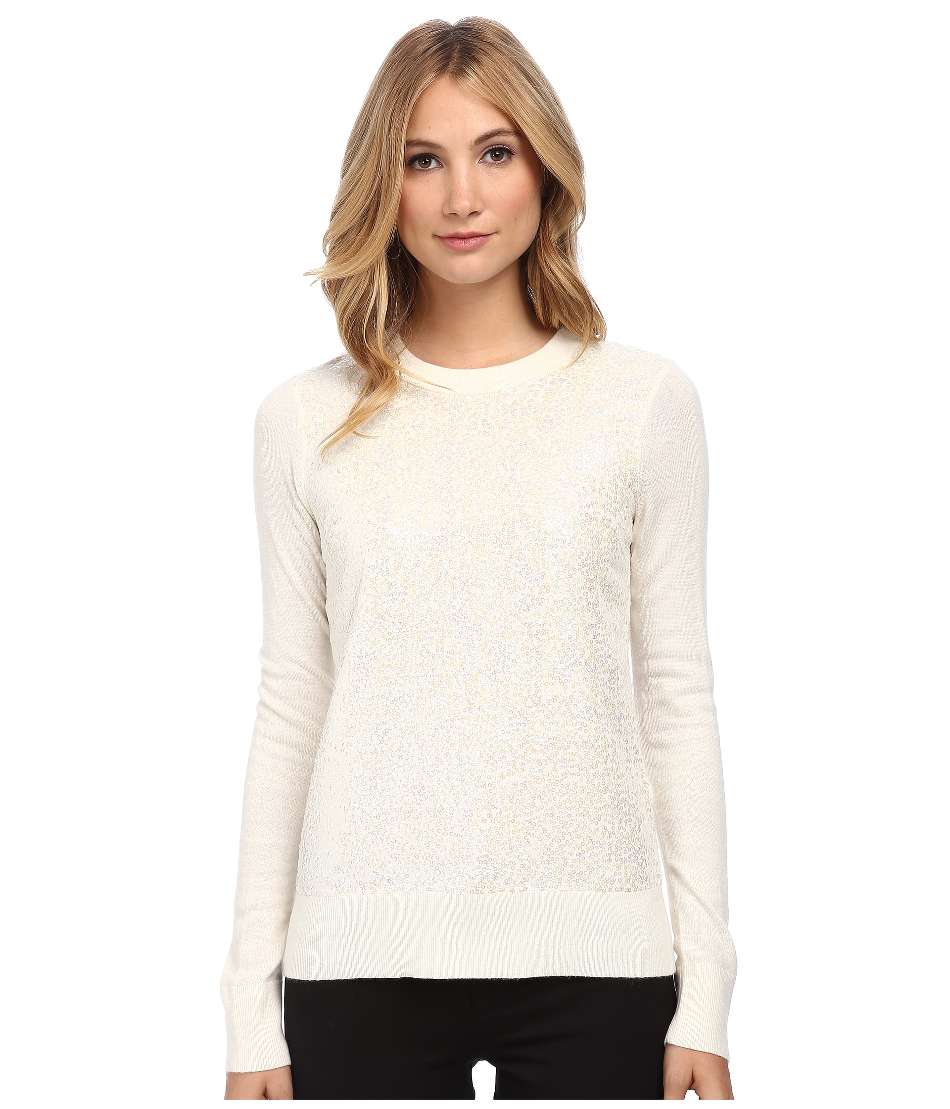 Kate spade new york Fluffy Wool Sequin Sweater in Natural | Lyst