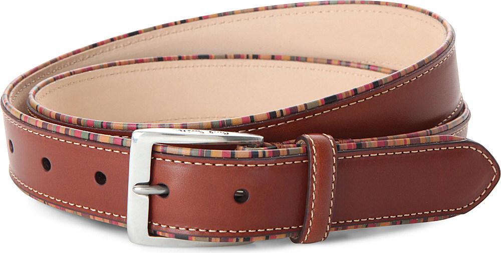 paul smith multi striped leather belt in brown for