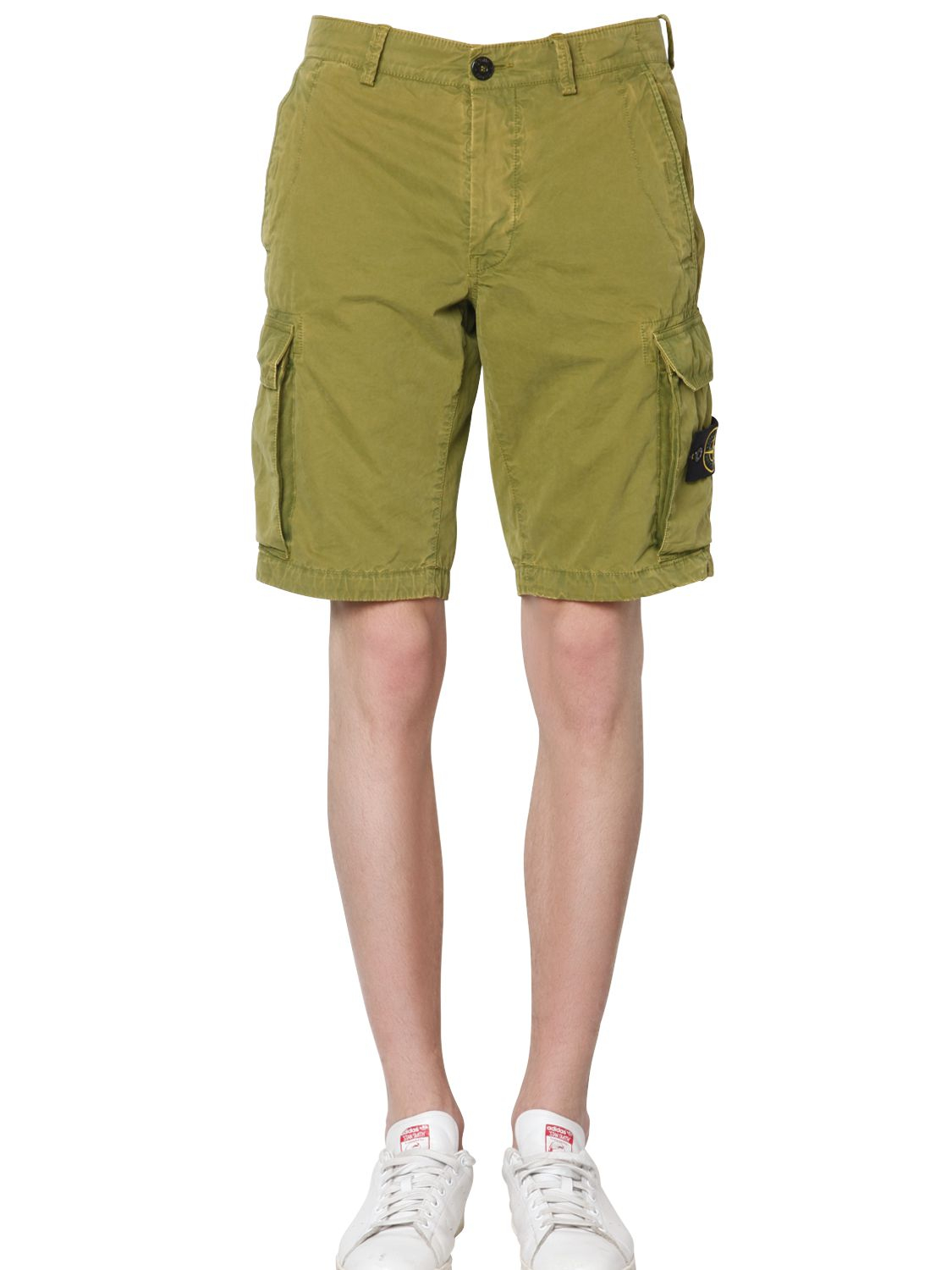 stone island cotton cargo shorts in green for men lyst. Black Bedroom Furniture Sets. Home Design Ideas
