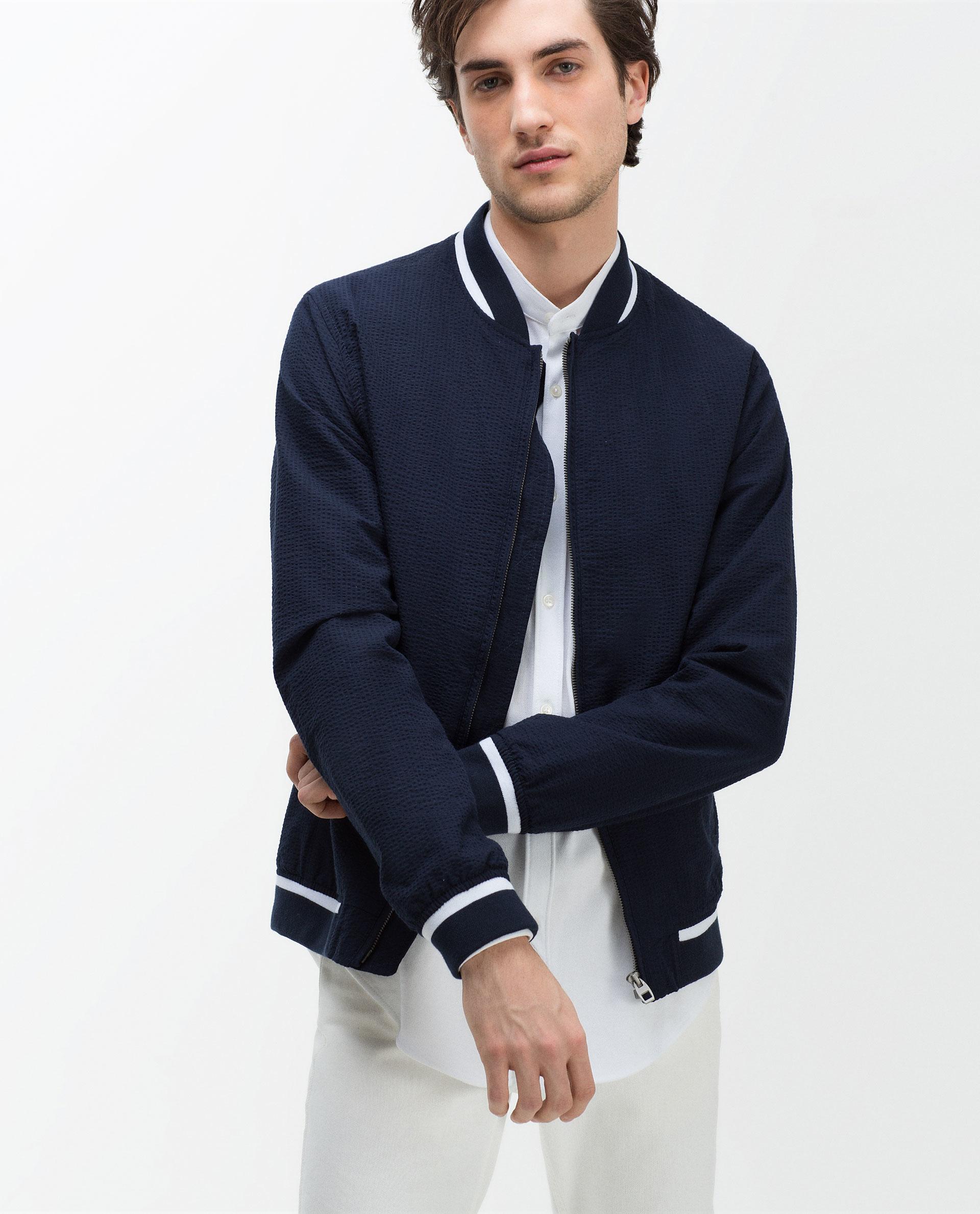 Mens navy bomber jacket zara