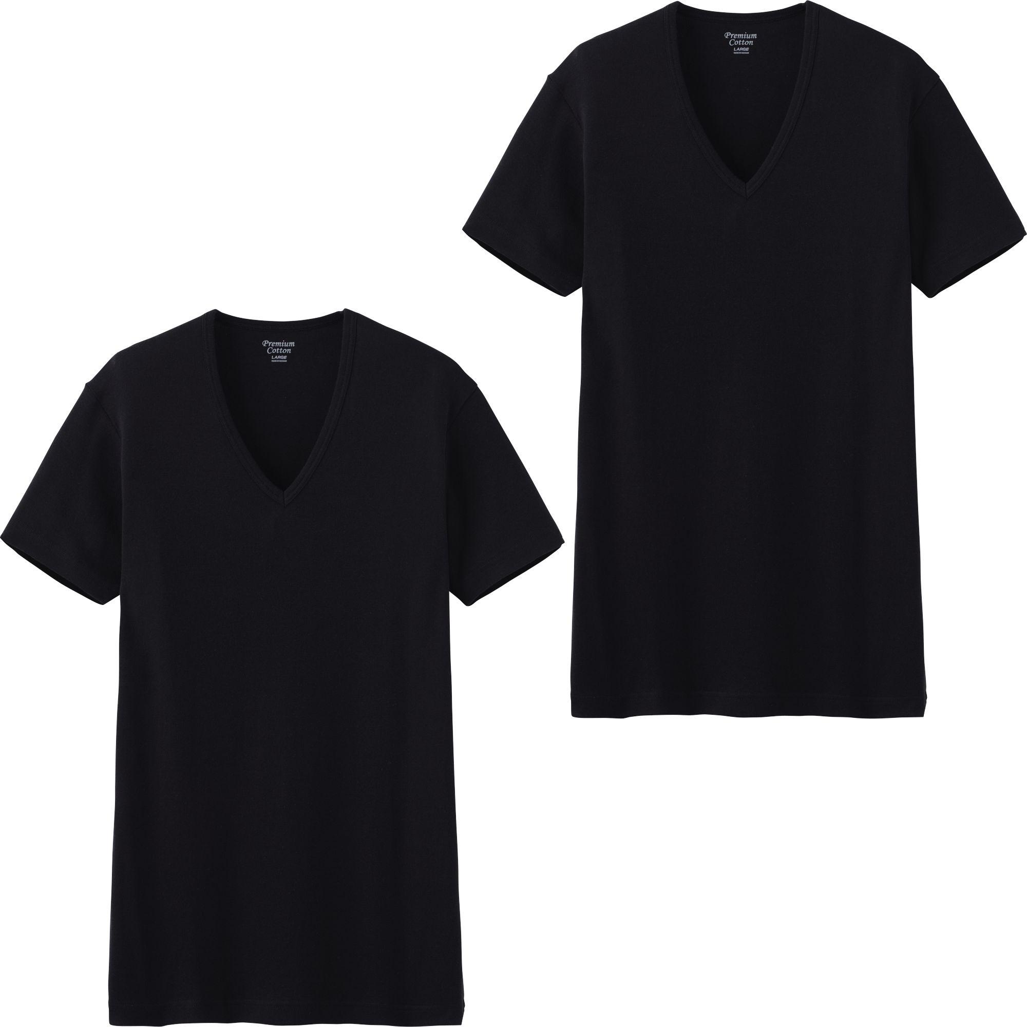 Uniqlo men premium cotton v neck rib short sleeve t shirt for Uniqlo premium t shirt