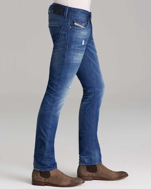 lyst diesel jeans thavar straight fit in denim in blue