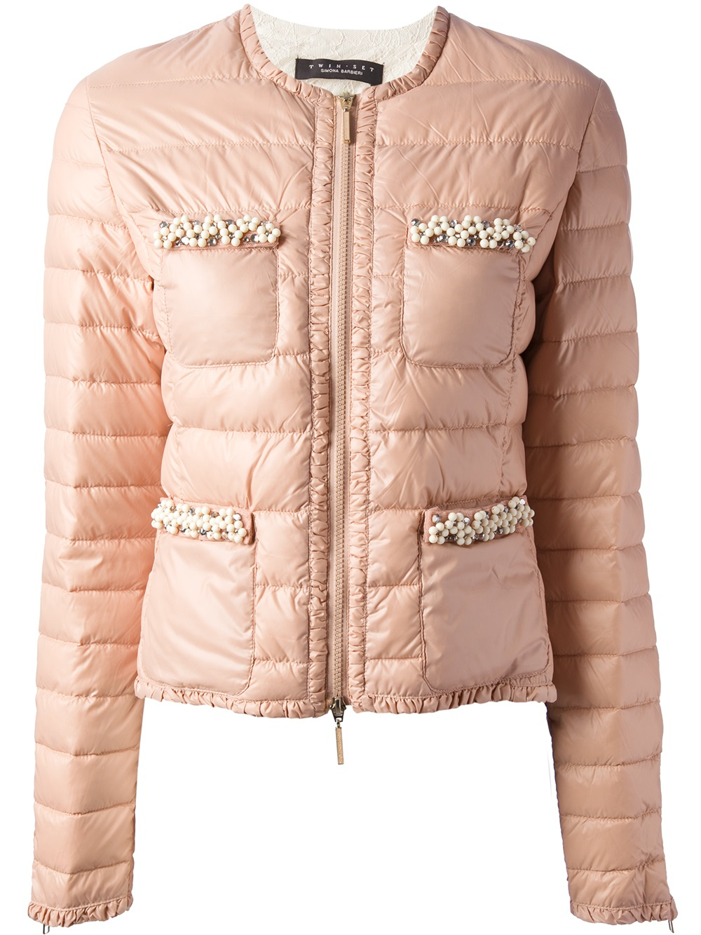 Lyst Twin Set Padded Floral Trim Jacket In Pink