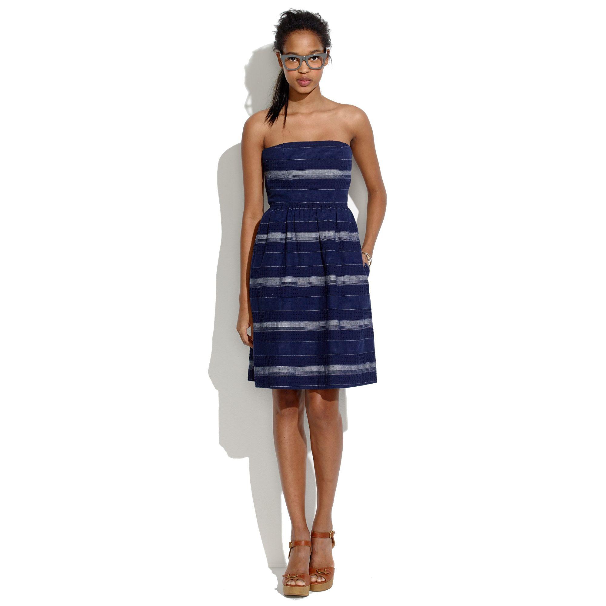Lyst Madewell Woven Stripe Strapless Sundress In Blue