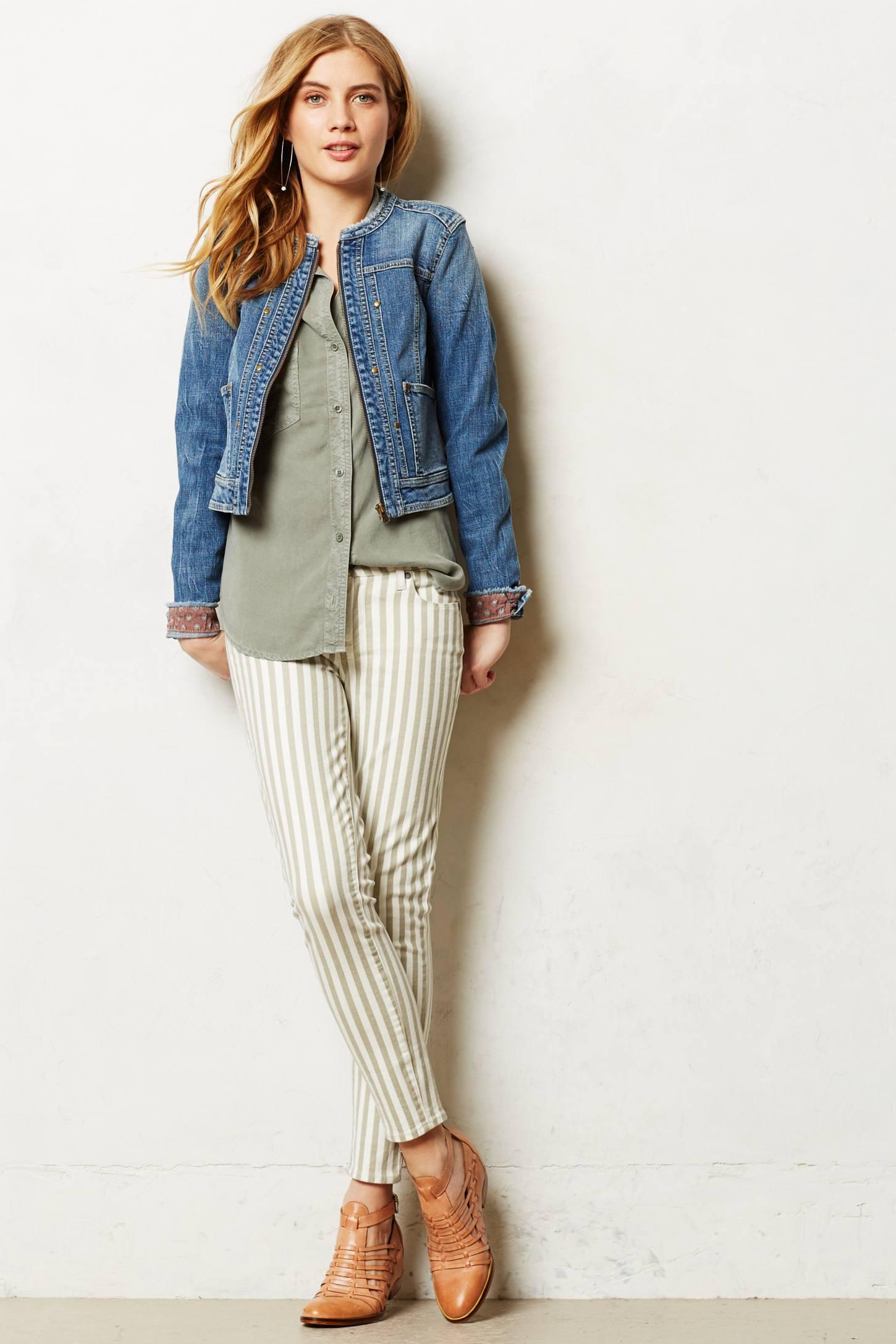 Gallery. Women's Collarless Jackets - Pilcro Collarless Denim Jacket In Blue Lyst