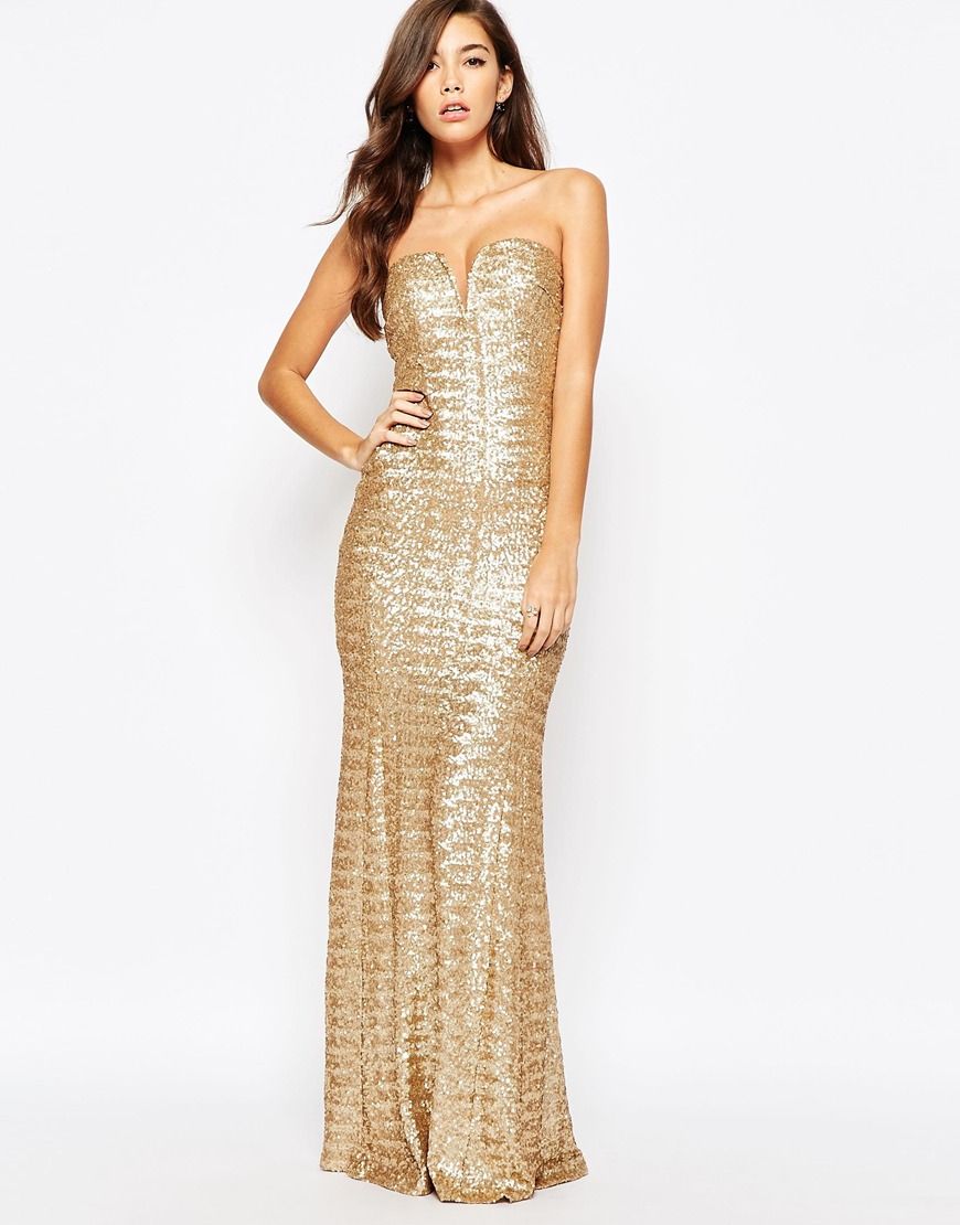 42a84d88 TFNC London Showstopper Sequin Maxi Dress - Gold in Metallic - Lyst