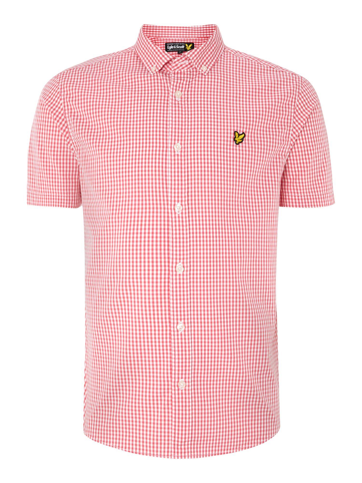 Lyle Scott Short Sleeve Gingham Shirt In Red For Men Lyst