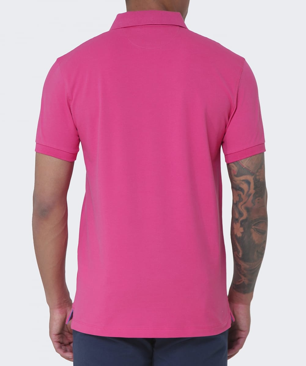 Hackett tailored fit polo shirt in pink for men hibiscus for Tailored fit shirts meaning