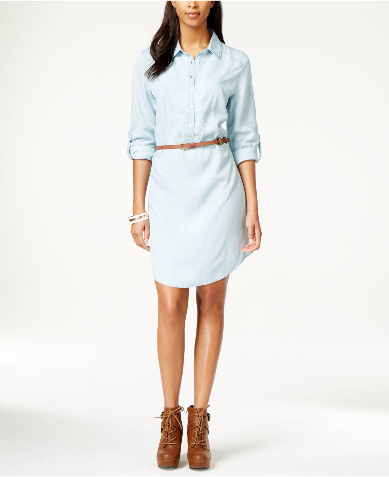 397de028a65 Eci Belted Light Wash Denim Shirtdress in Blue - Lyst