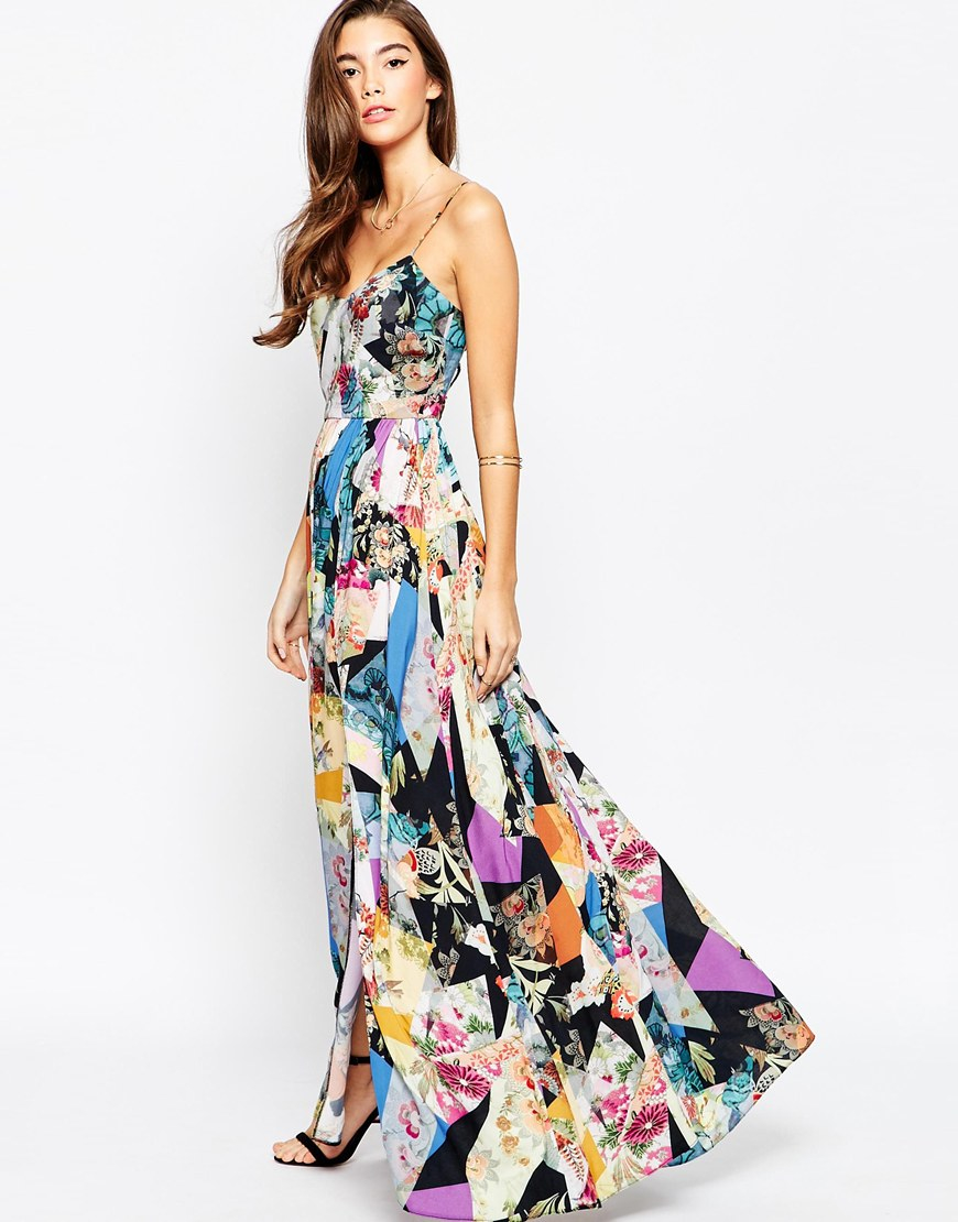 b2a42d9304 ASOS Floral Print Maxi Dress With Lace Up Back Detail - Lyst