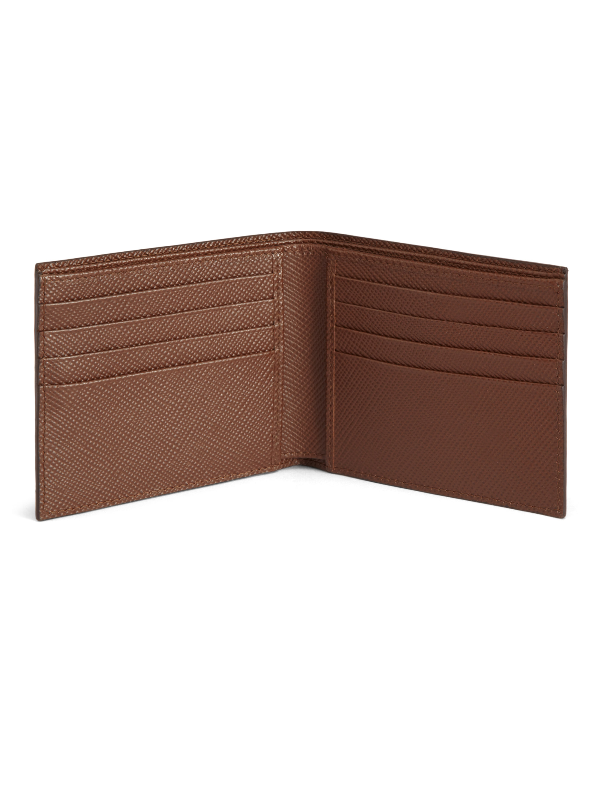e806be88a76a2a Lyst - Prada Saffiano Cuir Striped Bifold Wallet in Brown for Men
