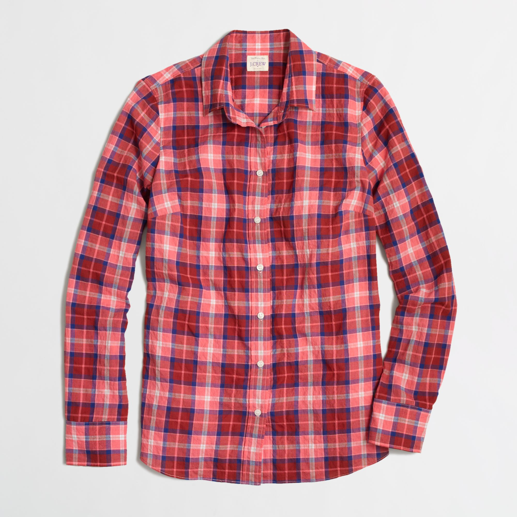 J.crew Factory Classic Buttondown Shirt in Suckered Plaid in Red ...
