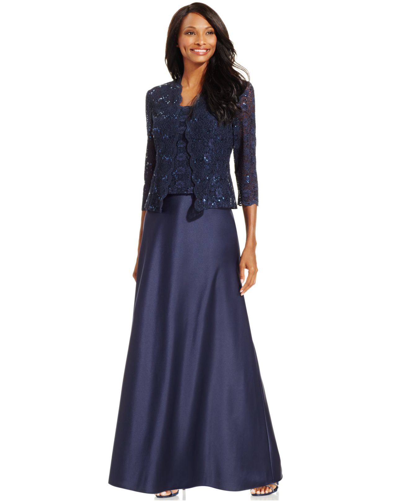 alex evenings midnight sequin lace satin gown and jacket blue product 0 604946148 normal