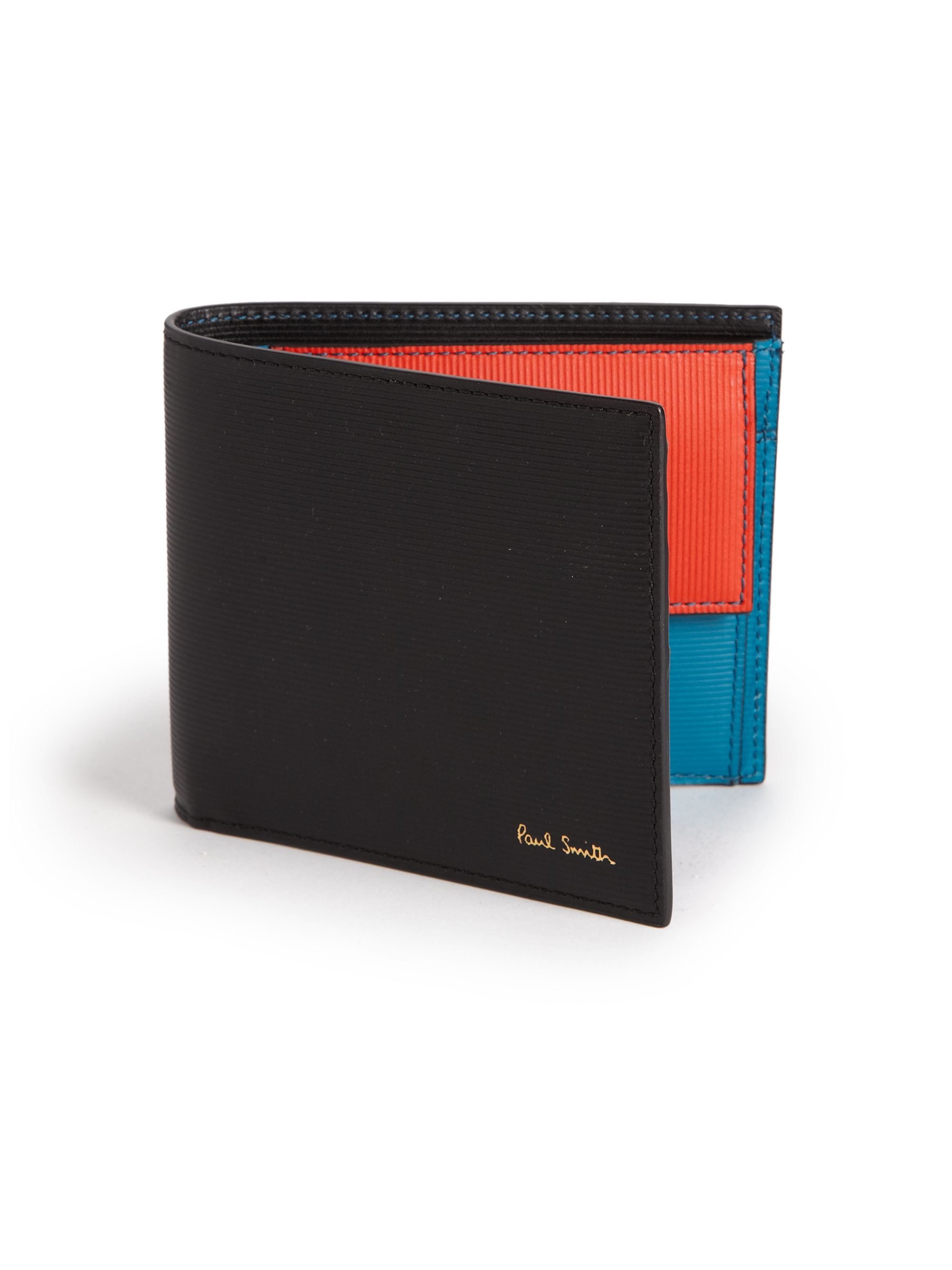 b4817675c8294 Lyst - Paul Smith Colorblock Leather Bifold Wallet in Black for Men