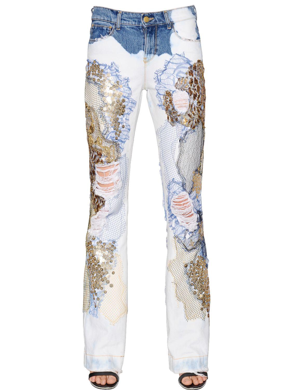 Lyst - Amen Embellished Bleached Cotton Denim Jeans