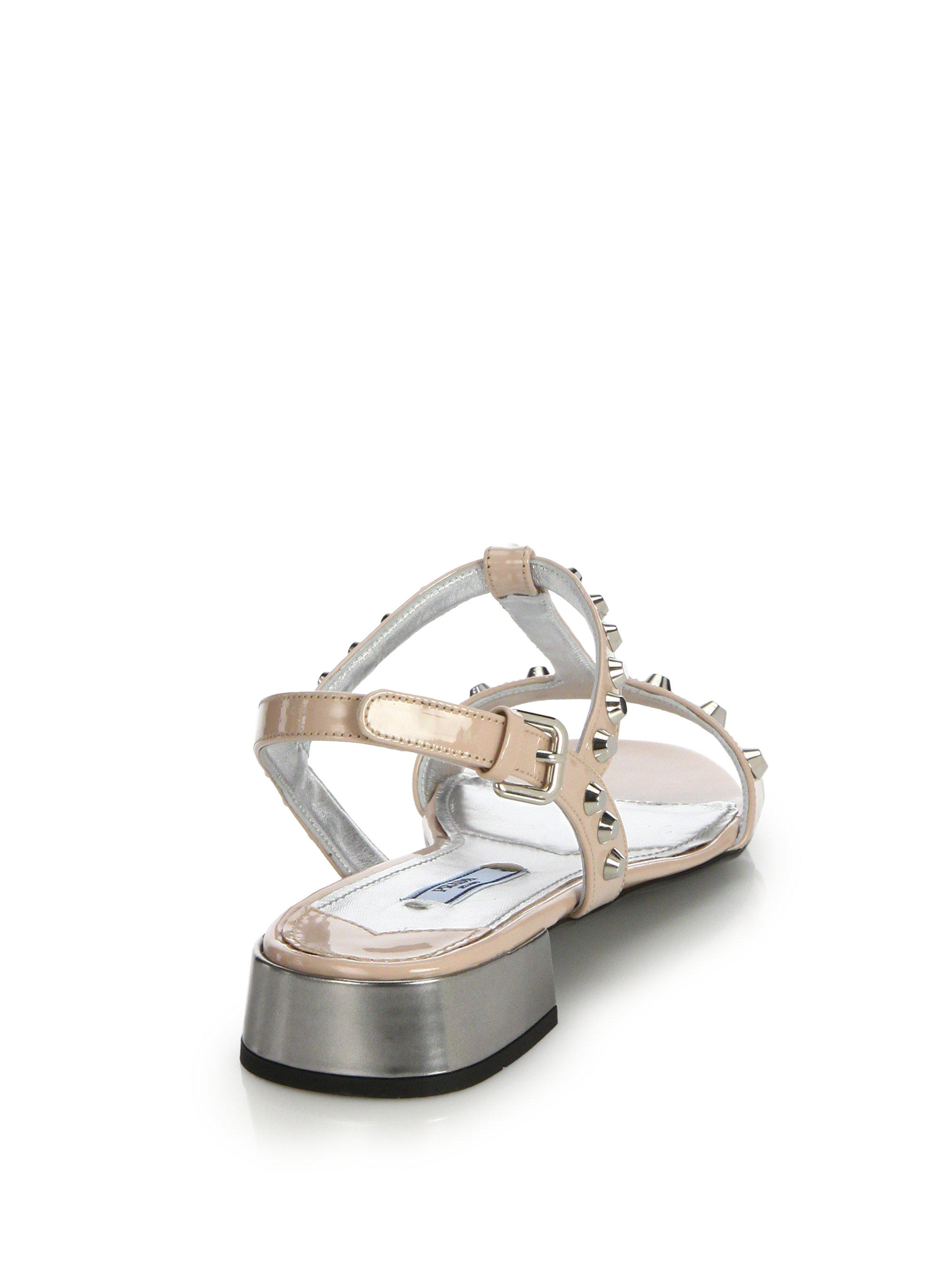 prada bags shop online - Prada Studded Patent Leather Sandals in Pink (blush) | Lyst