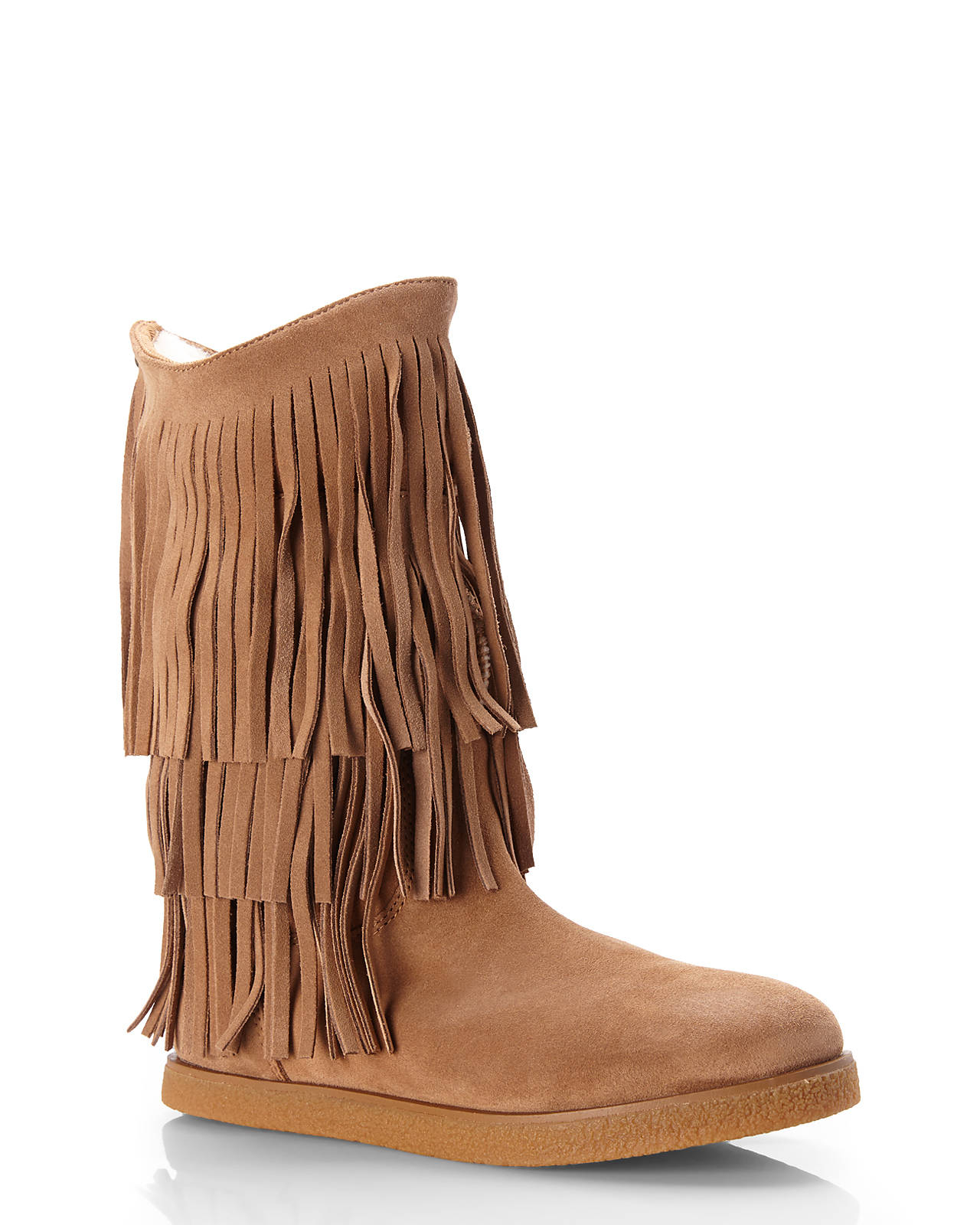 Koolaburra Real Fur Lined Josie Fringe Boots in Brown | Lyst