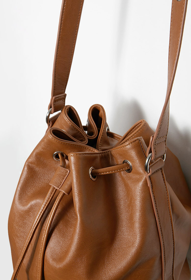 Forever 21 Faux Leather Drawstring Bucket Bag in Brown   Lyst