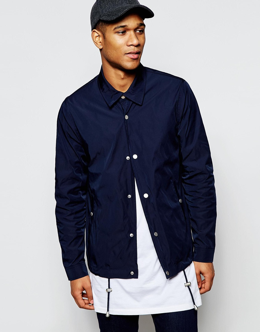 Lyst Asos Coach Jacket With Contrast Lining In Navy In